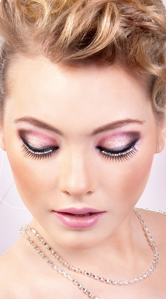 Black and White Sexy Rhinestone Eyelashes, Black and White Rhinestone Fake Eyelashes