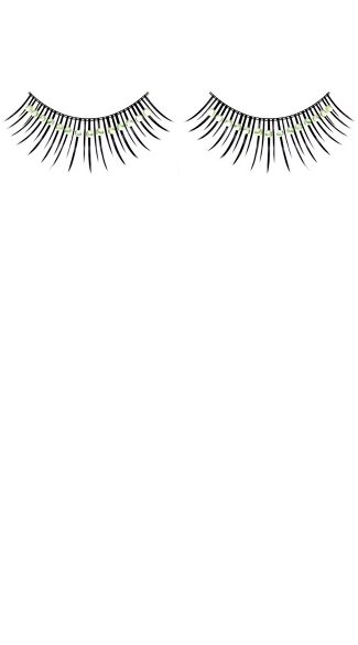Black and Light Green Rhinestone Fake Eyelashes