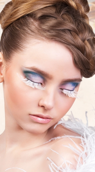 Elegant White Feather Eyelashes, White Feather Fake Eyelashes, White Eyelashes