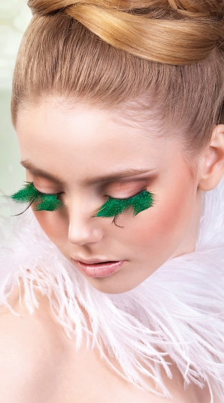 Emerald Feather Eyelashes