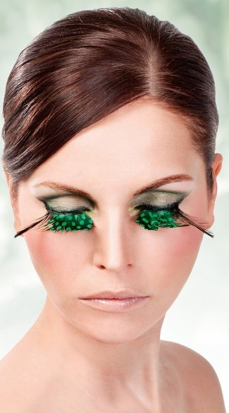 Light Green Polka-Dot Feather Eyelashes
