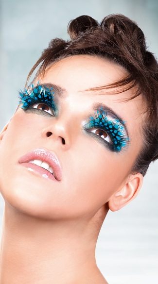 Blue Polka Dot Feather Eyelashes, Blue Feather Fake Eyelashes, Blue Eyelashes