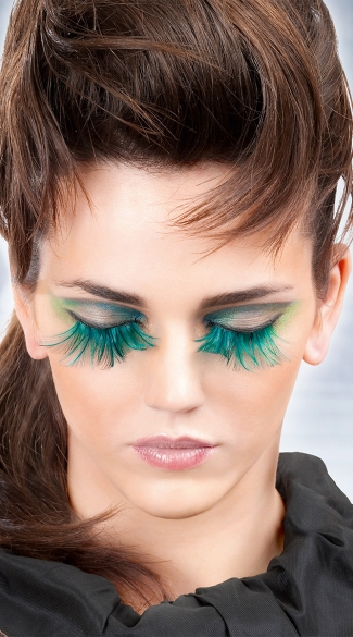 Beautiful Blue Feather Eyelashes, Blue Feather False Eyelashes, Blue Fake Eyelashes
