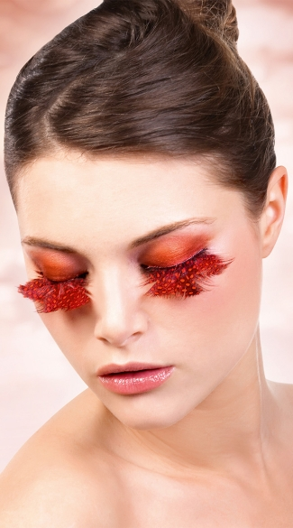 Orange and Red Polka Dot Feather Eyelashes