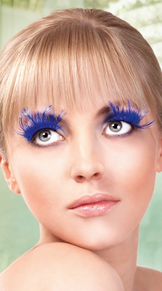 Long Blue Feather Eyelashes