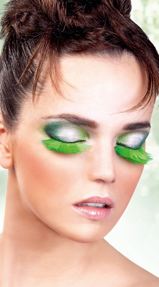 Long Green Feather Eyelashes, Green Feather Fake Eyelashes, Green Eyelashes