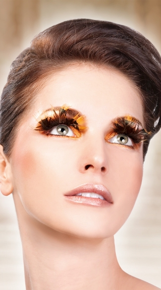 Brown and Yellow Tip Feather Eyelashes, Brown Feather Eyelashes, Brown Eyelashes
