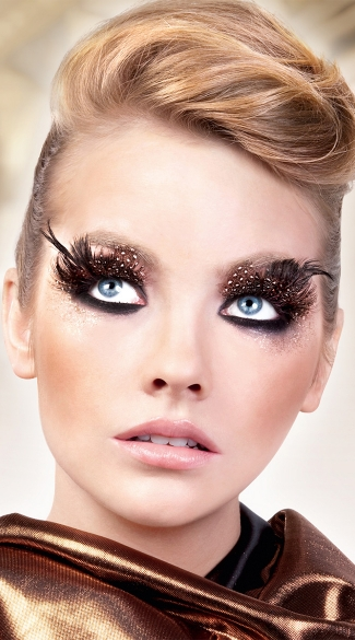 Black and Brown Polka Dot Feather Eyelashes, Black Brown Feather Eyelashes