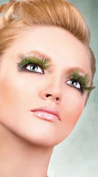 Light Green Polka Dot Feather Eyelashes, Light Green Feather Eyelashes