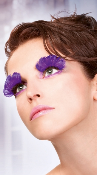 Large Purple Feather Eyelashes