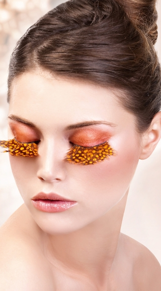Brown and Yellow Polka-Dot Feather Eyelashes, Brown and Yellow Feather Eyelashes