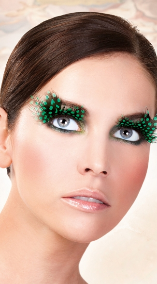 Black and Green Polka Dot Feather Eyelashes
