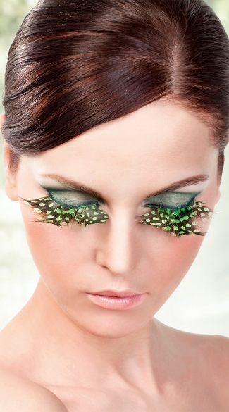 Brown, Green Purple Polka Dot Feather Eyelashes, Feather False Eyelashes