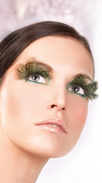 Brown and Green Polka Dot Feather Eyelashes, Brown and Green Feather False Eyelashes