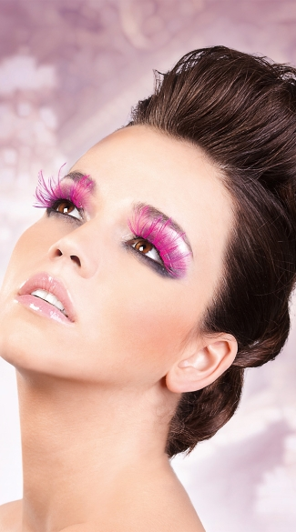 Sexy Hot Pink Feather Eyelashes, Hot Pink Feather False Eyelashes