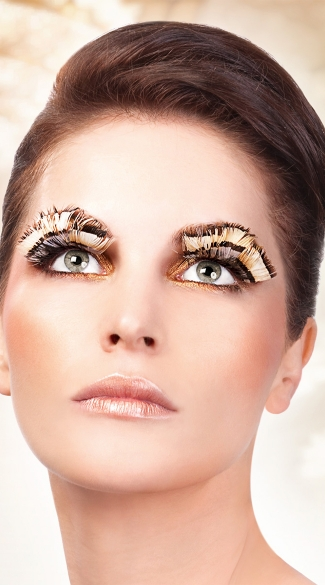 Beige and Brown Feather Eyelashes