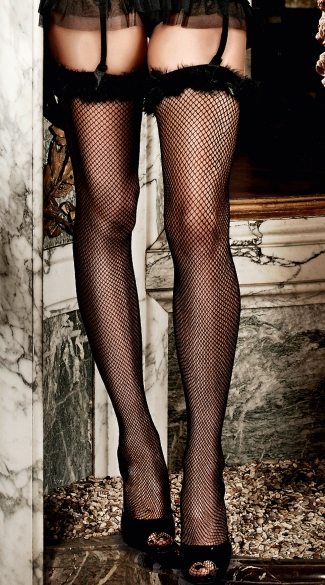 Marabou Top Fishnet Thigh Highs, Black Fishnets with Feather Trim