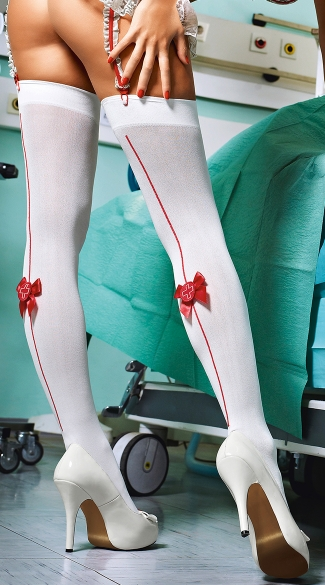 Sexy Emergency White Stockings with Red Medic Back Seam