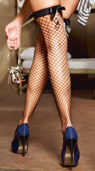 Handcuff Fishnet Thigh High Stockings