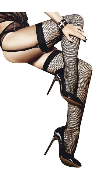 Fishnet Thigh High With Back Seam