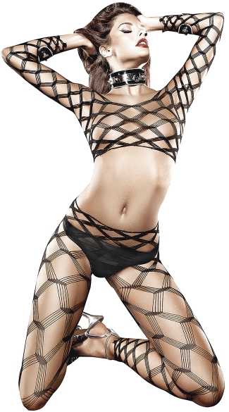 Two Piece Diamond Net Bodystocking, Black Net Cami Top and Pants
