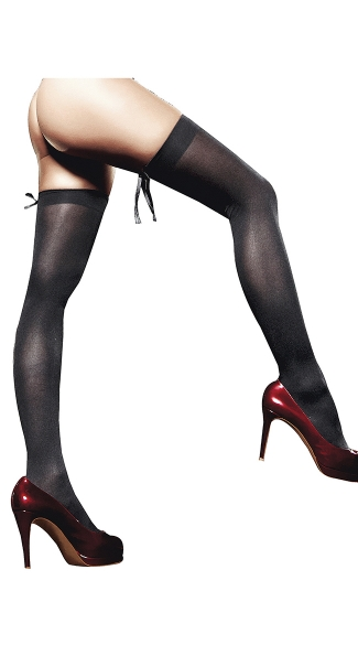 Black Opaque Thigh Highs