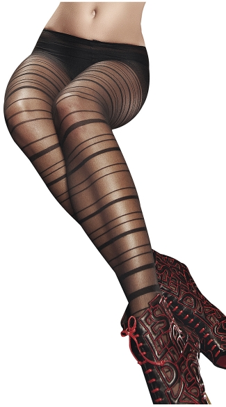 Sheer Horizontal Striped Pantyhose, Sheer Black Pantyhose with Stripes