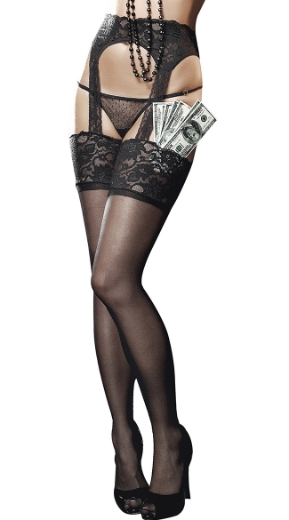 Sheer Lace Top Garter Hose with Back Seam