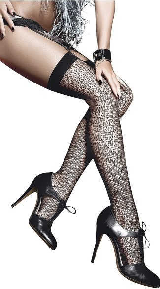 Black Circle Net Thigh Highs, Mini Cut Out Stockings
