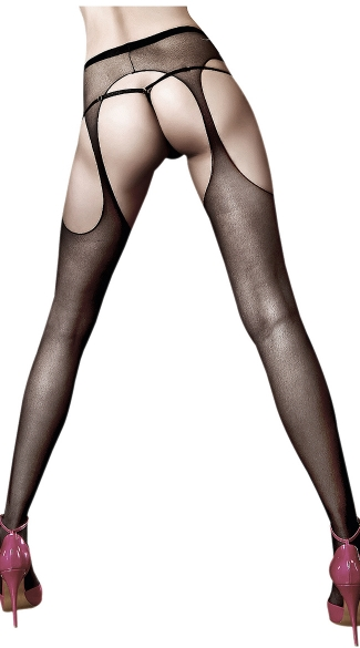 Sheer Black Suspender-Hose, Black Suspender Pantyhose