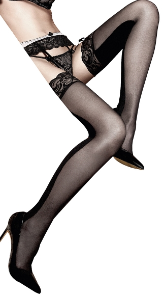 Lace Top Sheer And Opaque Thigh Highs, Black Opaque and Sheer Stockings