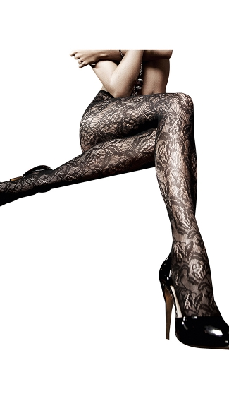 Black Lace Pantyhose, Black Floral Lace Tights