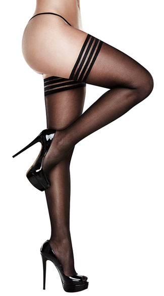 Plus Size Striped Top Thigh High Stockings, Plus Size Black Sheer Thigh Highs, Plus Size Striped Thigh Highs