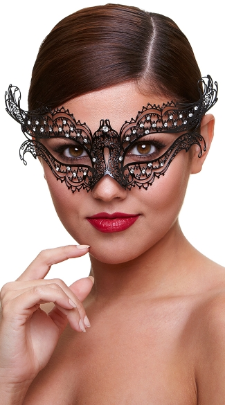 Black Winged Filigree Mask with Crystals, Sexy Winged Eye Mask, Black Mask with Rhinestones