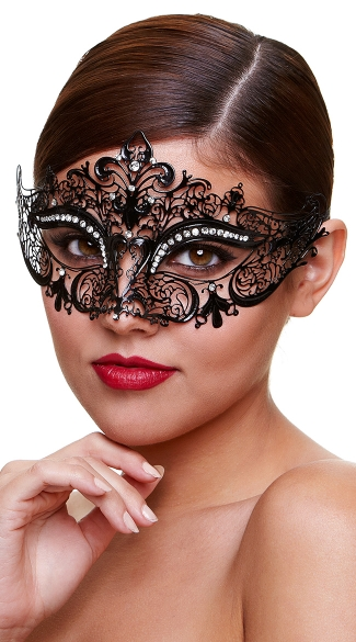 Black Filigree Mystery Mask, Masquerade Eye Mask, Black Costume Mask