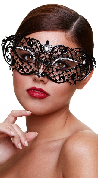Black Filigree Half Mask with Crystals, Sexy Filigree Eye Mask, Black Crystal Masquerade Mask