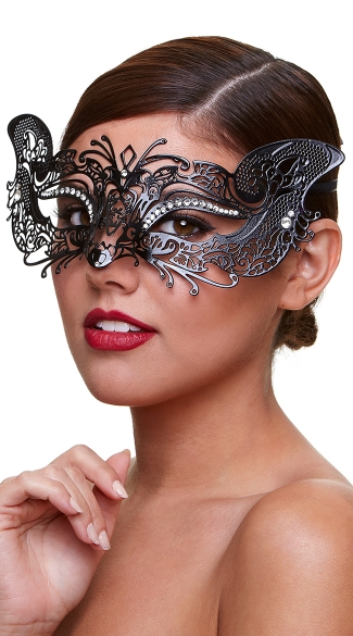 Filigree Cat Eye Mask with Crystals, Sexy Black Cat Face Mask, Metal Face Mask with Crystals