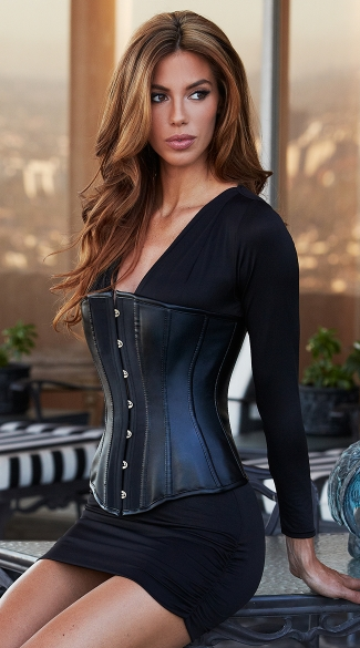 Essential Satin and Faux Leather Corset