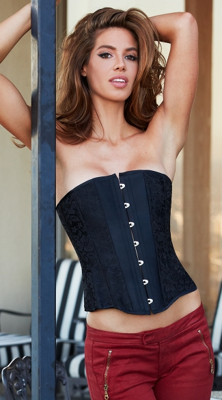 Essential Satin and Lace Corset, Black Lace and Satin Corset