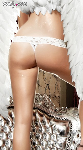 White Mesh Thong with Lacy Waistband