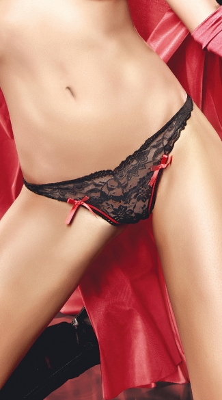 Red and Black Sheer Lace Thong