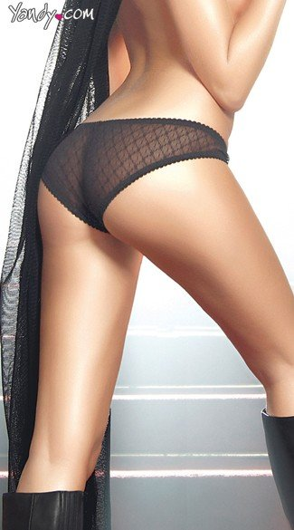 Black Mesh Bikini Panty with Open Crotch