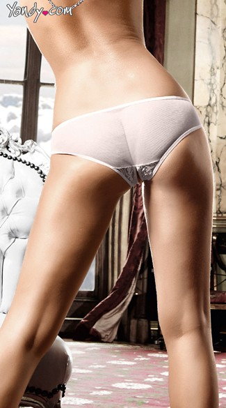 White Lacy Bikini Panty with Open Crotch