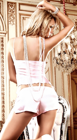 Pink Satin Cami and Shorts Set