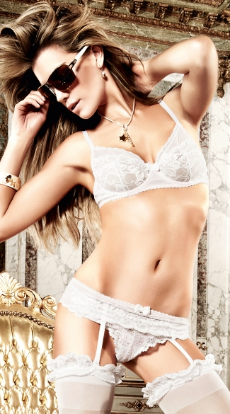 White Bra Top Set with Gartered Panty and Light Pink Accents