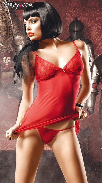 Red Dot Chemise and G-String Set
