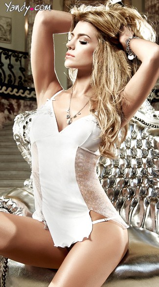 Microfiber White Dot Chemise and Panty Set, Sexy Chemise Lingerie Set, White Bridal Chemise Set