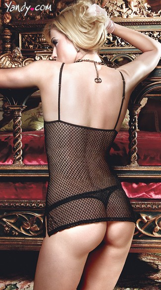 Checkered Black Lace Chemise with Panty