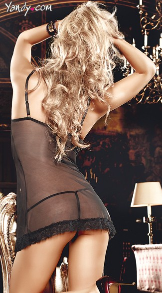 Seductive Sheer Black Chemise with G-String