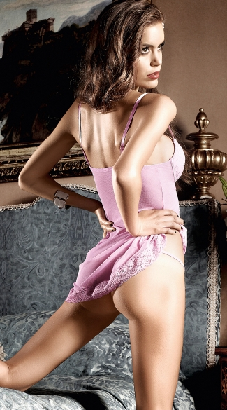 Pink Microfiber Chemise Dress with G-String